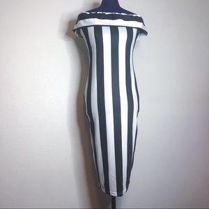 Dresses & Skirts - Black and White Stripe Off Shoulder Dress